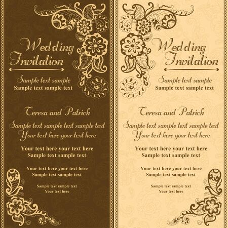 Wedding invitation in pastel east turkish style, brown and orange