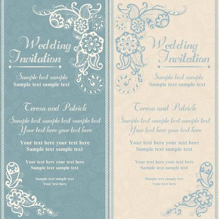 Wedding invitation in pastel east turkish style, blue Illustration