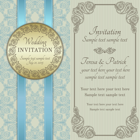 Antique baroque wedding invitation with blue ribbon, ornate round frame, gold, blue, brown and beige Illustration