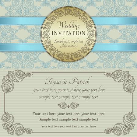 블루 리본, 화려한 라운드 프레임, 골드, 블루, 브라운과 베이지 색 골동품 바로크 양식의 결혼식 초대장