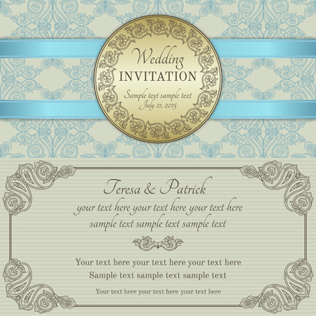 Antique baroque wedding invitation with blue ribbon, ornate round frame, gold, blue, brown and beige Иллюстрация