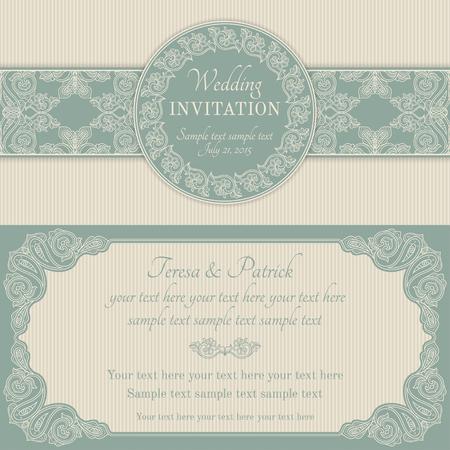 골동품 바로크 식 결혼식 초대장, 화려한 원형 화환 프레임, 파랑 및 베이지 색