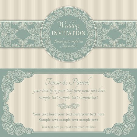 honeymoon: Antique baroque wedding invitation, ornate round wreath frame, blue and beige