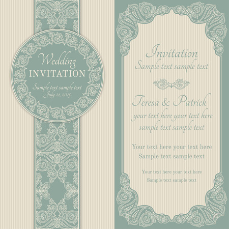 Antique baroque wedding invitation, ornate round wreath frame, blue and beige