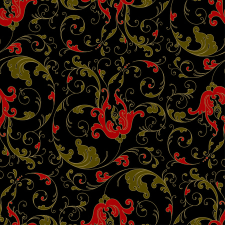 Folk traditional painting. Seamless pattern with flowers, red and gold on black Stock fotó - 41855558