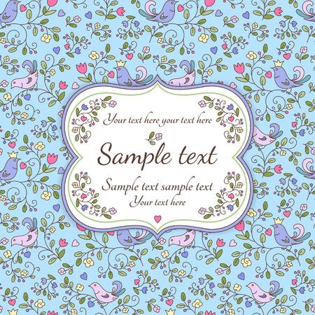 꽃, 새와 샘플 텍스트, 푸른 자연 원활한 패턴 또는 배경 일러스트