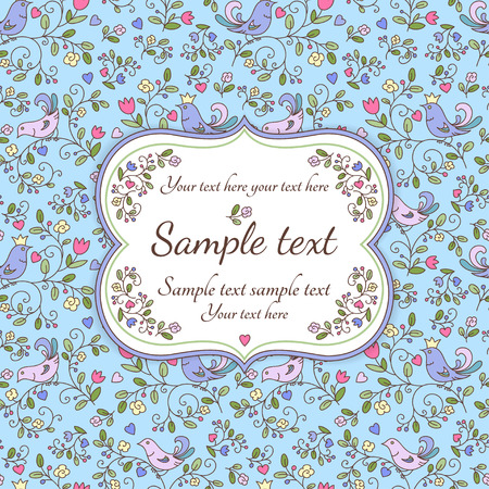 Nature seamless pattern or background with flowers, birds and sample text, blue