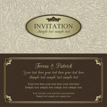 gold brown: Antique baroque wedding invitation, ornate round frame, beige, brown and gold