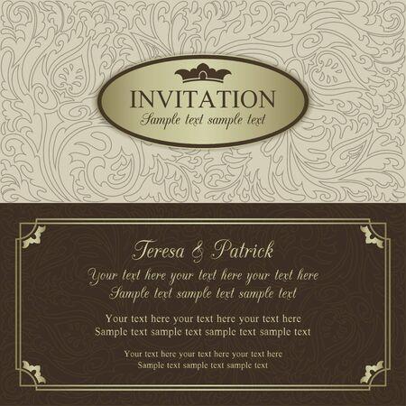 Antique baroque wedding invitation, ornate round frame, beige, brown and gold