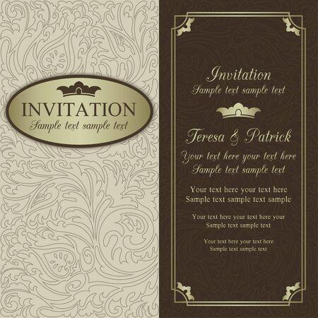골동품 바로크 결혼식 초대, 화려한 라운드 프레임, 베이지, 브라운과 골드 일러스트