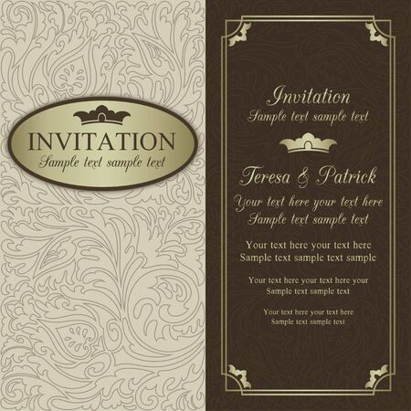 Antique baroque wedding invitation, ornate round frame, beige, brown and gold