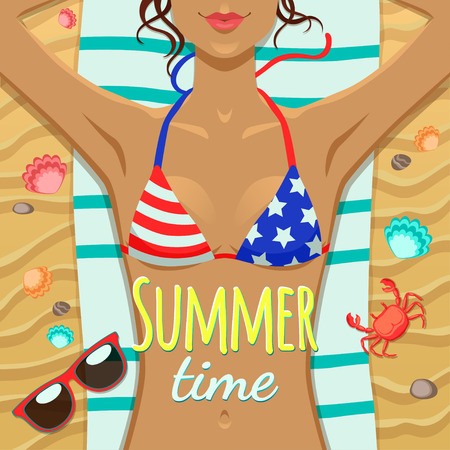 Summer girl tan on the beach with towel, sunglasses, crab and clams Illustration