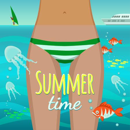 물고기와 해파리와 물속에서 여름 소녀 일러스트