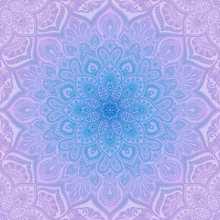 만다라 요소 빈티지 원활한 패턴, 파랑 및 라일락