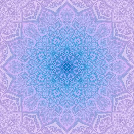 Mandala element vintage seamless pattern, blue and lilac