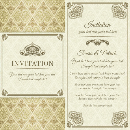 Antique baroque invitation, gold and brown on beige background