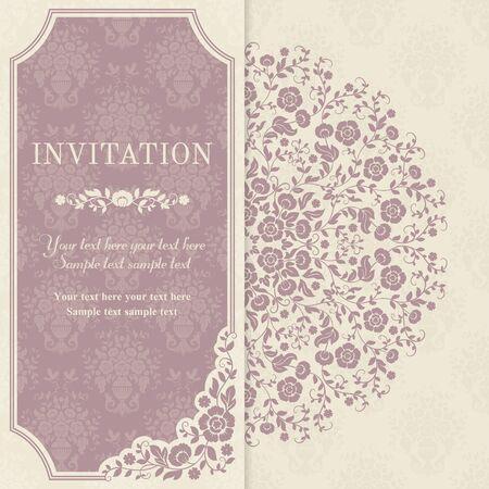 레트로 초대 또는 민속 스타일, 핑크와 베이지 색의 꽃과 웨딩 카드