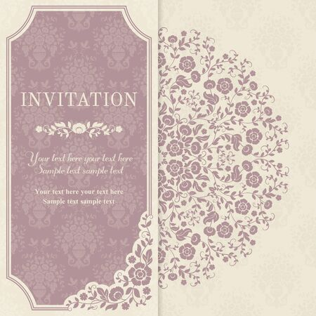 Retro invitation or wedding card with flowers in a folk style, pink and beige