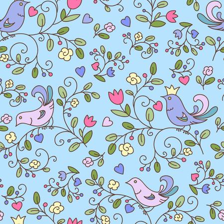푸른 꽃과 새, 자연 원활한 패턴 또는 배경