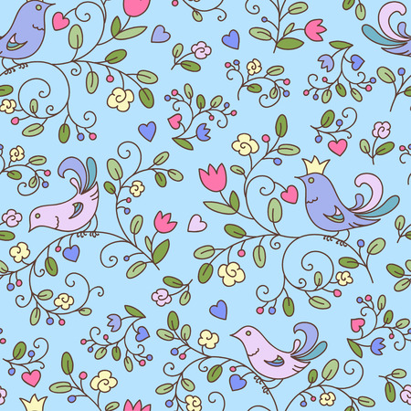 Nature seamless pattern or background with flowers and birds, blue