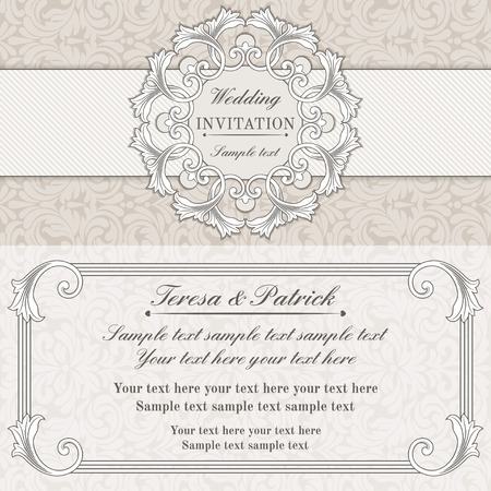구식 스타일, 회색과 베이지 색의 바로크 결혼식 초대 카드