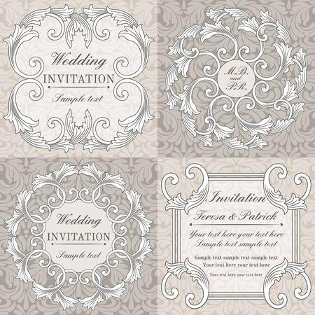 구식 스타일, 회색과 베이지 색에 설정된 바로크 결혼식 초대 카드 일러스트