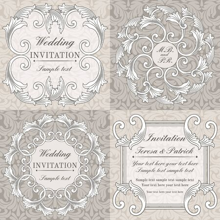 Baroque wedding invitation card set in old-fashioned style, grey and beige Illustration