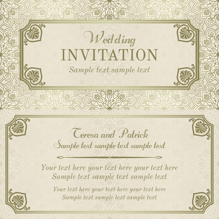 text frame: Antique baroque wedding invitation, gold and beige on mandala element background