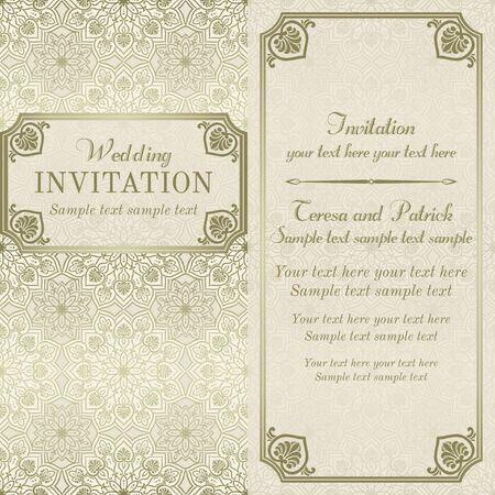 Antique baroque wedding invitation, gold and beige on mandala element background