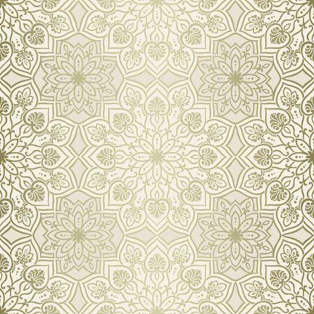 만다라 요소 빈티지 원활한 패턴, 골드, 베이지 색