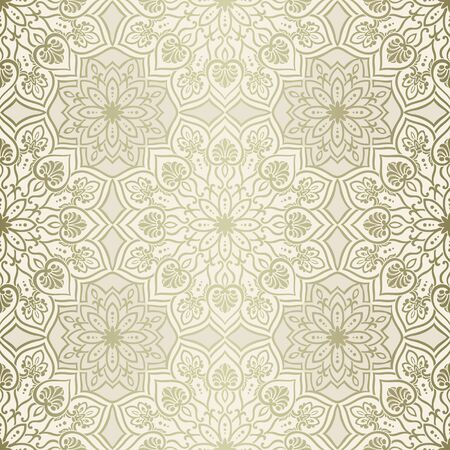 Mandala element vintage seamless pattern, gold and beige Illustration