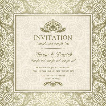 Antique baroque invitation, gold on beige background Stock fotó - 42124493
