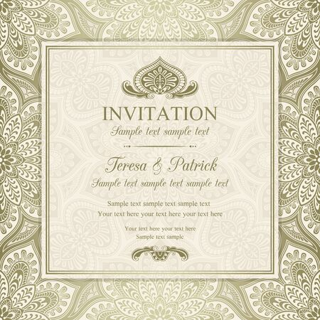 Antique baroque invitation, gold on beige background