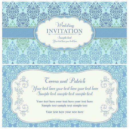 구식 스타일 골동품 바로크 결혼식 초대 카드, 파란색과 녹색