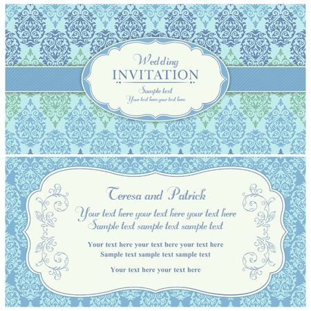 Antique baroque wedding invitation card in old-fashioned style, blue and green Stock fotó - 42124495