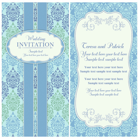 Antique baroque wedding invitation card in old-fashioned style, blue and green Stock fotó - 42124496