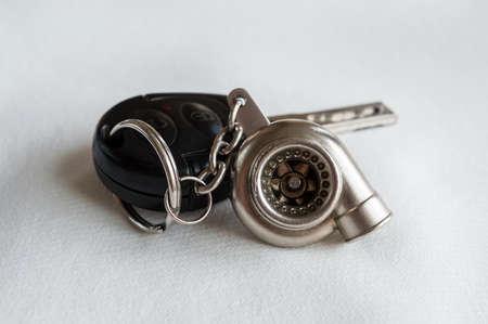 Car keys with a mini turbo key chain photo