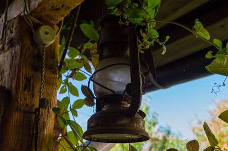 An old rusty lantern, outdoor garden decoration
