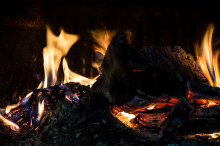 oxygene: Burning fire in a fireplace Stock Photo