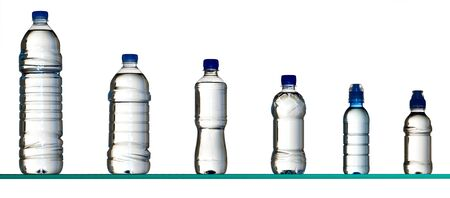 bottle with water: different plastic water bottles