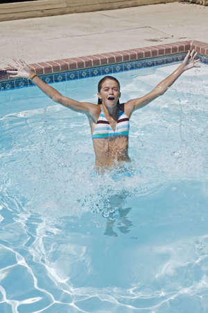 Model Release 358  Preteen girl, enjoying a day at the swimming pool