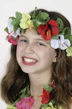 dance preteen: Model Release #261  Preteen girl dressed as Hula girl