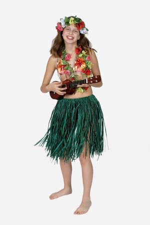 Model Release #261  Preteen girl dressed as Hula girl