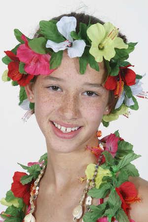 dance preteen: Preteen girl dressed as Hula girl Stock Photo