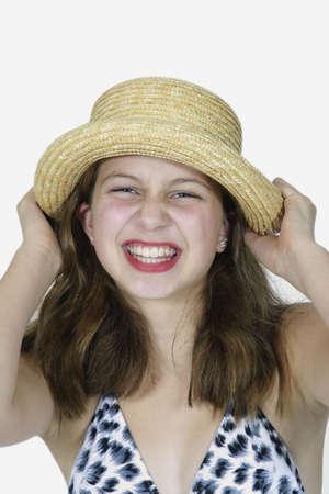 Preteen girl posing with alittle attitude photo