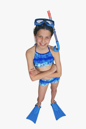 Portrait of preteen girl in a swimsuit photo