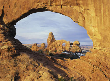 arches national park: Early morning light on Turret Arch, Arches National Park, Utah