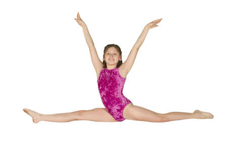 female gymnast: 10 year old caucasian girl in gymnastics poses