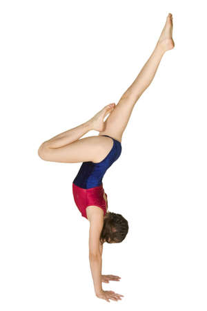 10 year old caucasian girl in gymnastics poses