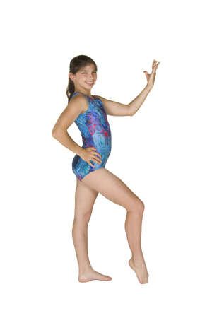 12 year old: 12 year old caucasian girl in gymnastics poses